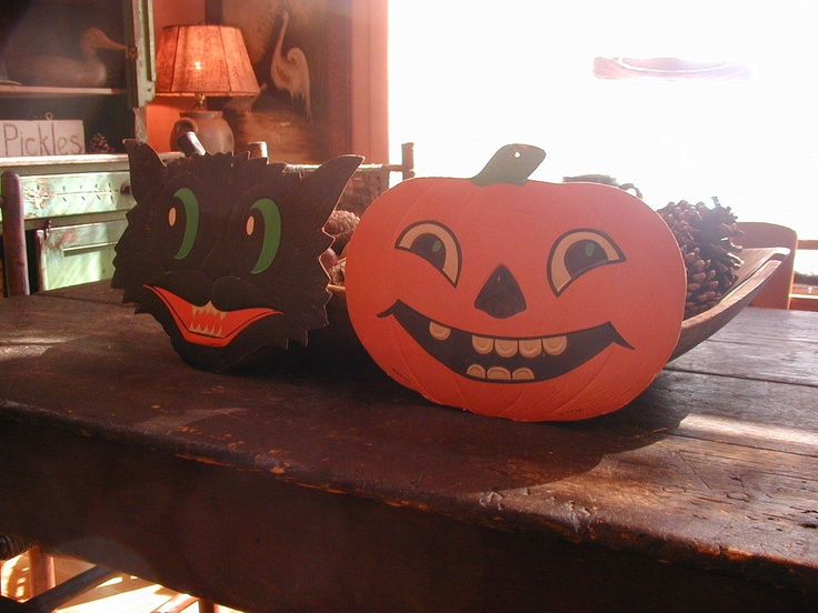 2 vintage halloween decorations pumpkin black cat made in usa he luhrs - Halloween Decorations Ebay