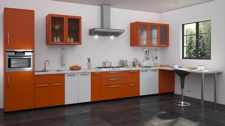 Orange modular kitchen design straight kitchen designs for Straight kitchen designs