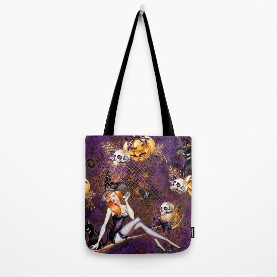 #halloween #witch #skull #scary #pattern #pumpkin #blackcat available in different #homedecor products. Check more at society6.com/julianarw #totebag