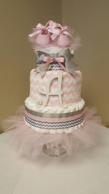 """Tiny Dancer"" Pink and gray baby girl diaper cake with ballerina slippers. Check out my Facebook page Simply Showers. http://m.me/adorablegifts #pinkbabyshower"