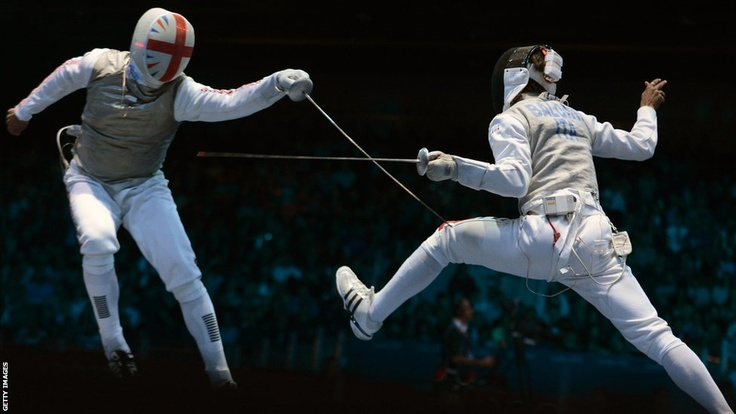 James Davis and Andrea Baldini during the men's foil team fencing quarter-finals