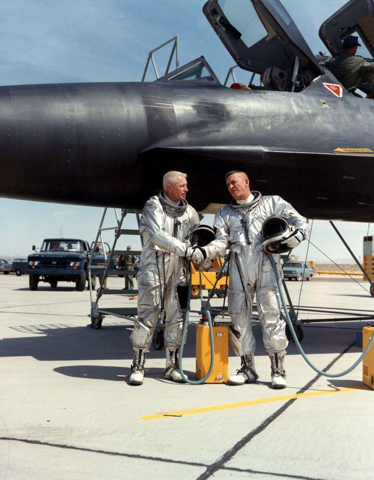 Lockheed SR-71 Blackbird crew.  Looks like a 'few' years ago!