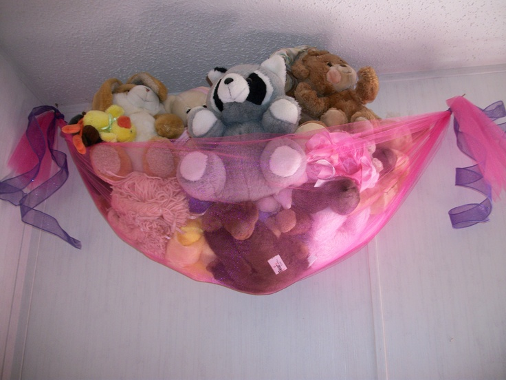 Homemade Stuffed Animal Net For Lilys Room 2 Yards Of Tulle Ribbon Command