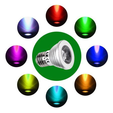 Lighting EVER 3W Dimmable MR16 LED Bulbs, RGB Spotlight, 16 Color Choice, 30掳 Beam Angle, Remote Controller Included