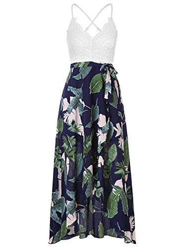 407875b33f2 Blooming Jelly Femmes Halter Neck Deep V Asymétrique Floral Dress ...