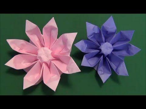 """花「ガーベラ」折り紙3 flower""""gerbera""""origami3 - YouTube"""