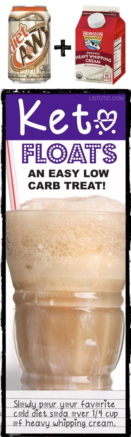 Low carb keto floats! Just like a root beer float but without the guilt! A keto, low carb and diabetic friendly dessert treat and drink. Easy! Just 2 ingredients. Listotic.com