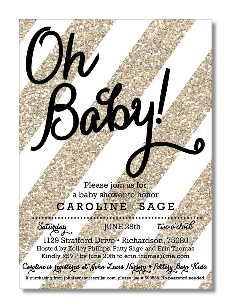 Gold Baby Shower Invitation I want these when I get preggers!! So chic