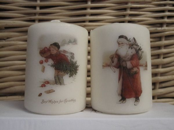 candle image transfer - works an absolute treat and is easy to do.  It helps to have a heating tool for scrapbooking -  a hairdryer might do it.