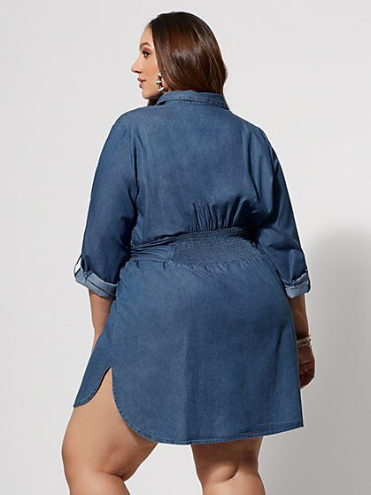 c45076ea20 Plus Size Kacey Tie Front Denim Shirt Dress - Fashion To Figure