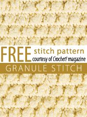 Pattern os several stitches for free download: Granule, Roll-Stitch diagonals, Seed stitch, Staggered diamonds, Alignes cobble, Floating circles, Little ripples, Sell and inverted shell, Shells