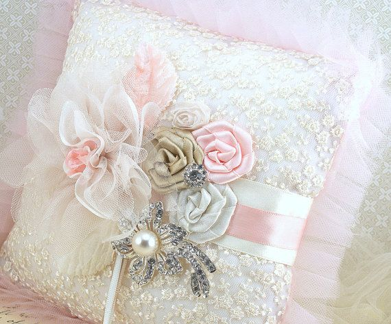 Ring Bearer Pillow Bridal Pillow in Blush Pink, Champagne and Ivory with Lace, Tulle and Crystal Brooch via Etsy