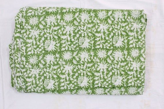 The New Indian Handmade Hand Block Print Pure Cotton Smooth Kantha Quilt Kantha Blanket HandBlock Kantha Throw Queen Double Size Bedspread
