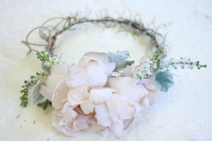 Wild rose and peony floral crown and sash wedding set