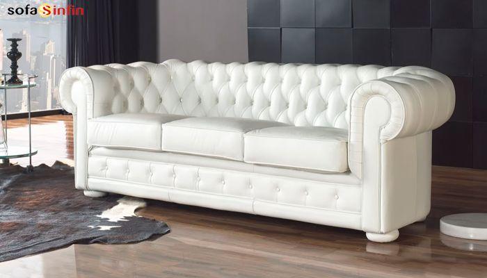 Sofá Chester tapizado en piel y tela  en Sofassinfin.es