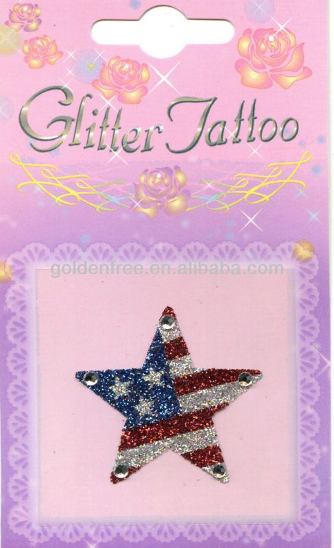 American flag star shaped glitter tattoo sticker