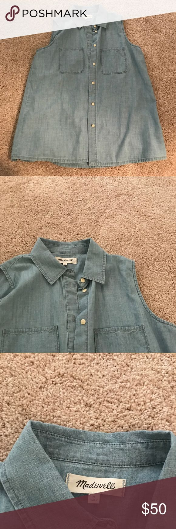 Madewell sleeveless denim shirt Sleeveless denim shirt. Fit is loose around the stomach. Size medium. Great for layering under a cardigan or pullover sweater. Color is light denim Madewell Tops