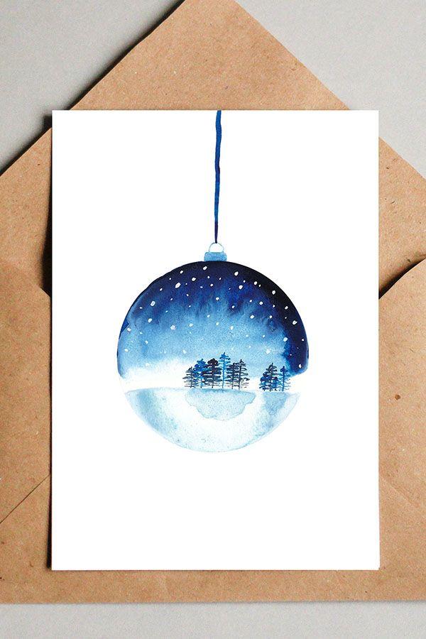 Schneekugel mit Winterlandschaft – moderne gemalte Weihnachtskarten kannst du in meinem Etsy Shop kaufen. Schau doch mal vorbei :)