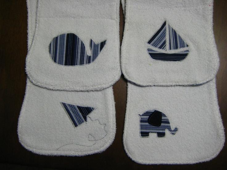 burp cloth set - love the elephant the most!