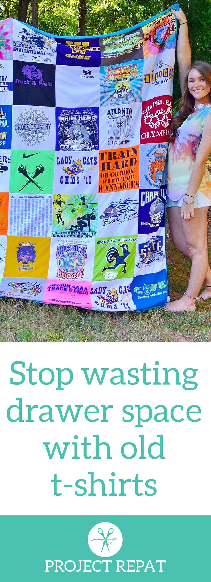 Every t-shirt quilt has a unique story to tell — what will yours say? Learn more about how you can turn t-shirts into a great conversation starter with Project Repat. https://www.projectrepat.com/?utm_source=Pinterest&utm_medium=3.2P