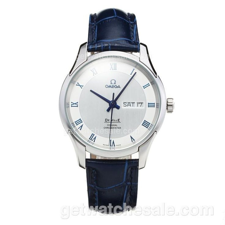 Omega De Ville, White Dial, Blue Leather Strap, Japanese Quartz Movement, The case of the watch is made of top quality solid 316 stainless steel,Water-Resistant, Case Material Stainless Steel / White Gold, Free Shipping on all Orders Worldwide.  Our Price: $108.00. Visit  www.getwatchesale.com/cheap-omega-watches-on-sale-cb50/2.html?category=50=DESC=goods_id=50_attr=0& to buy omega mens watches in cheap price - best designer mens watches, big mens watches, mens watches gold