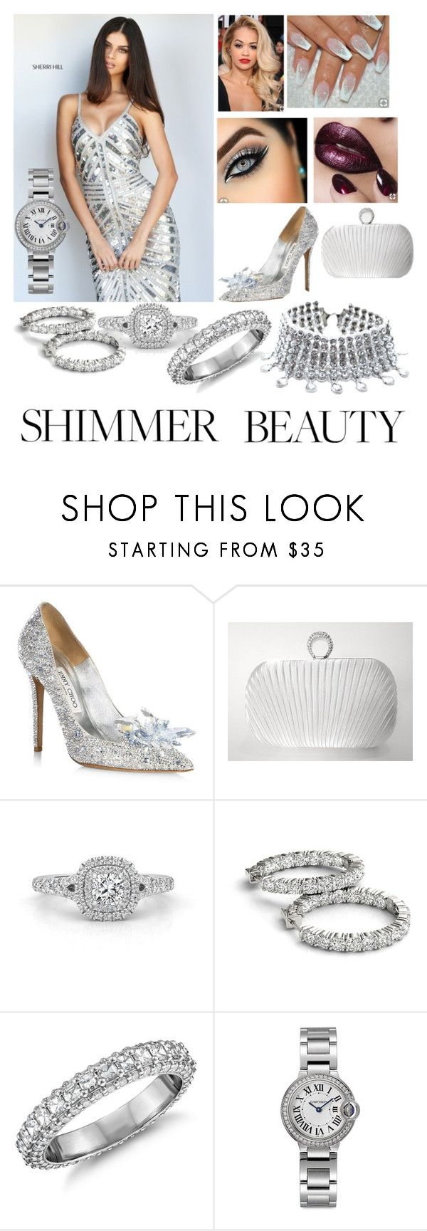 """#5"" by nikitamerchant ❤ liked on Polyvore featuring Sherri Hill, Jimmy Choo, Blue Nile, Cartier and Child Of Wild"