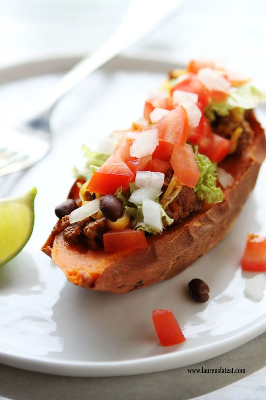 10 Quick and Easy Recipes - Sweet Potato Taco Boats-Id use regular potatoes