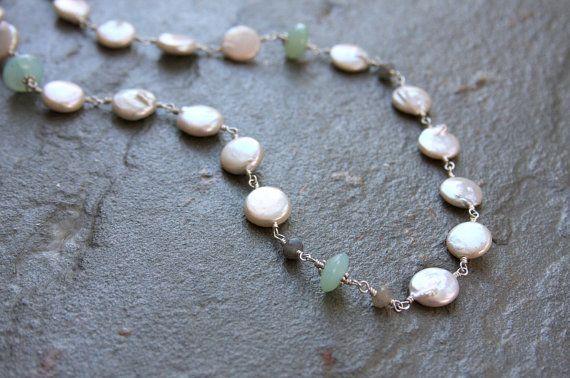 Collana di perle collane pietre dure collana di HollyMackDesigns