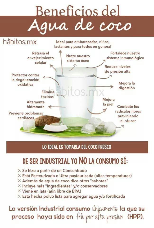 Agua de coco, sus beneficios, y a parte ¡lo buena que está! con habitos.mx #aguadecoco #vidasaludable #alimentacionsana