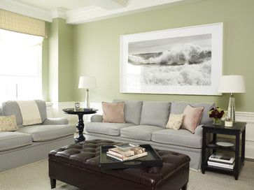 transitional family room - contemporary - family room - new york - Kathleen Walsh Interiors, LLC green - grey - pink SUPER