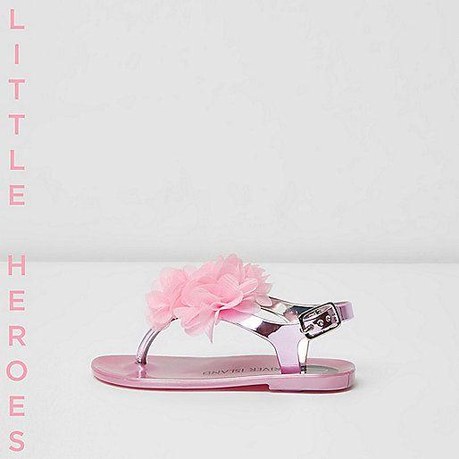 =Jelly sandalen Floral corsage detail gesp sluiting metalen bandjes