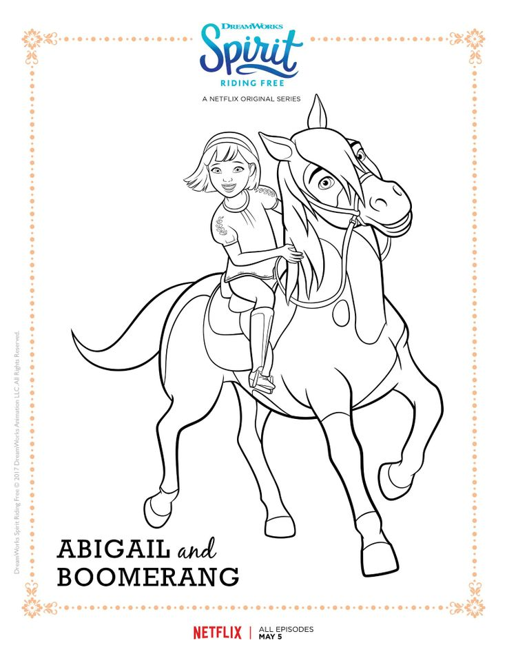 Spirit Riding Free Abigail and Boomerang Coloring Page ...