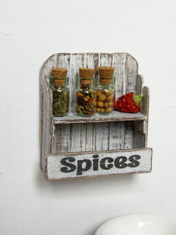 Dollhouse miniature shelf dollhouse rack  3 spice by DewdropMinis