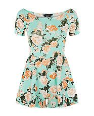Teens Mint Green Jersey Rose Print Playsuit  | New Look