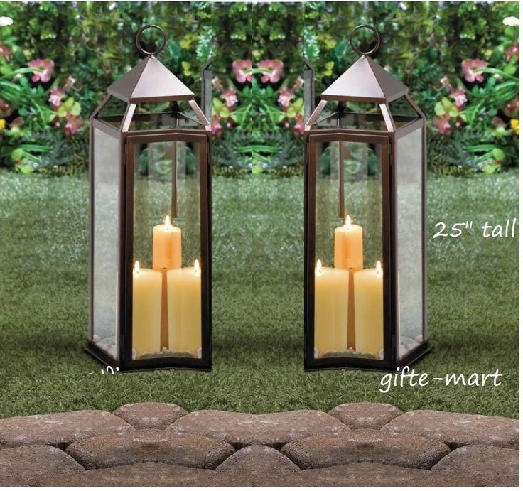 2 Large 24 Quot Tall Malta Bronze Brown Candle Lantern Holder