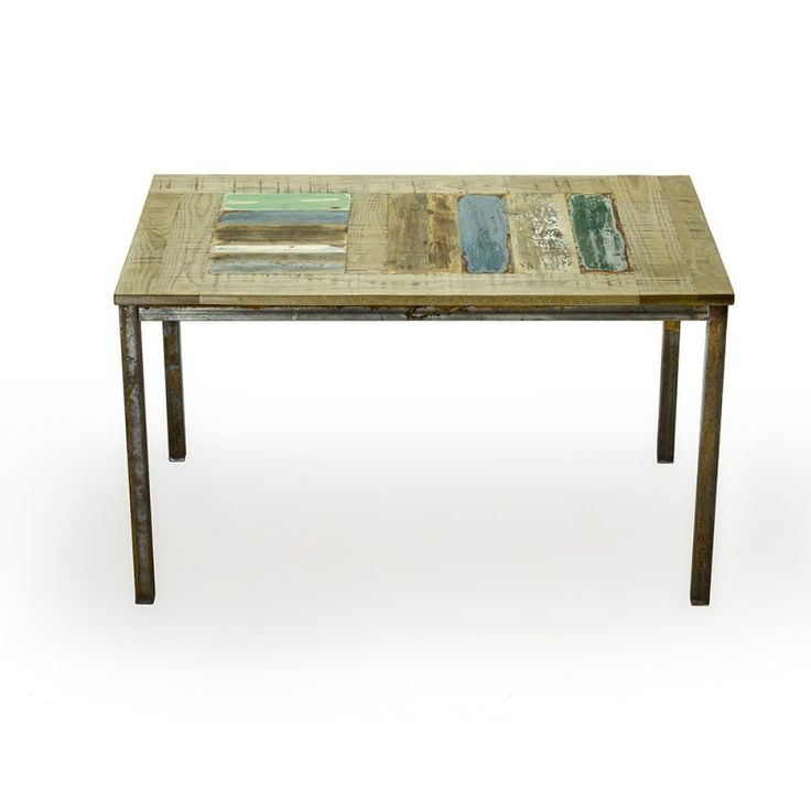 Arouf table Table with basement of box iron and mosaic top of oak and recovered wood.