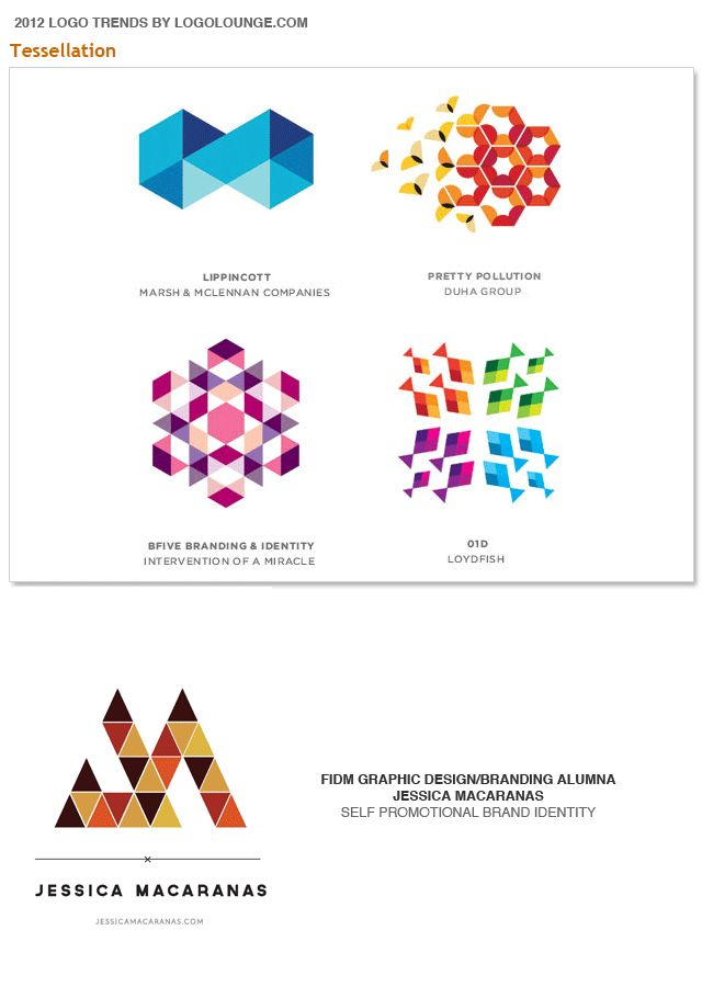 """Tessellation"" 2012 logo trend, as reported by LogoLounge.com. Aside from their striking beauty, these logos convey strength in numbers, combined elements creates a sum greater than their parts. These marks express a scientific nature based in math and give the assurance of precision and accuracy."