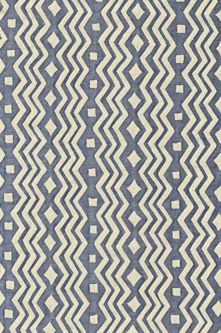 Navy and white zig zag pattern made at the Fortuny factory in Venice. Original Mariano Fortuny design. Part of the 2017 Crossroads collection.