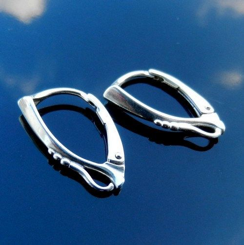 2 pairs Sterling Silver Lever Back ear hooks by BraceletsWorld