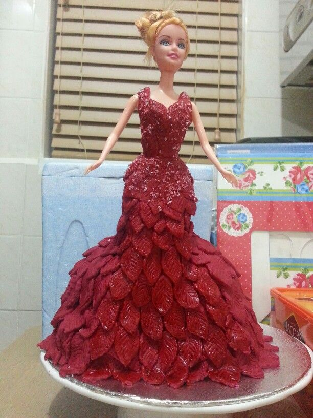 Chocolate doll cake in RED fondant.