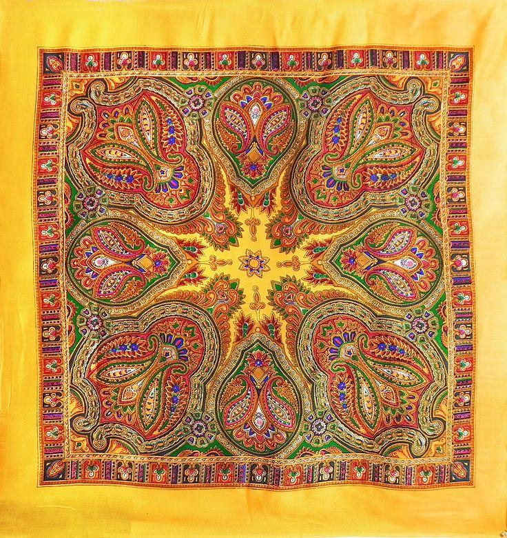 Colorful Paisley Print on Yellow Light Woolen Head Scarf (Light Woolen)