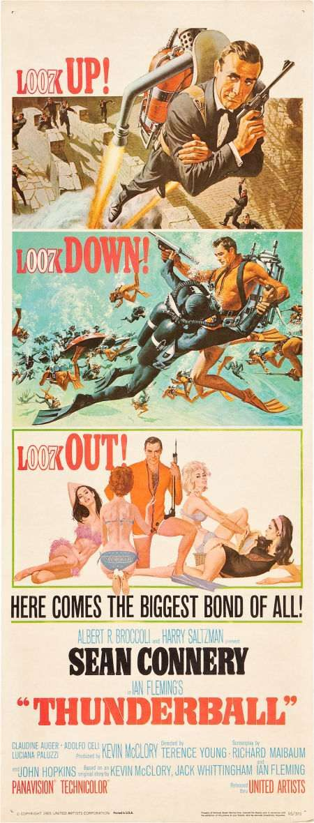 James Bond Thunderball insert movie poster. Art by Robert McGinnis and Frank McCarthy. Sean Connery