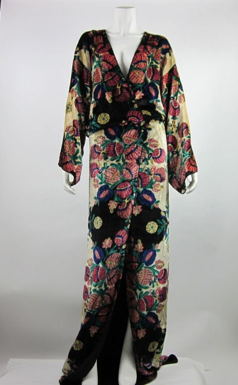 1920s Art Deco silk velvet robe   From a collection of rare vintage evening dresses at http://www.1stdibs.com/fashion/clothing/evening-dresses/