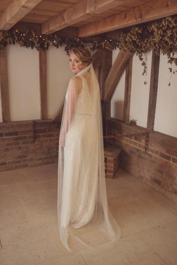 Soft veil, simple ivory veil, raw cut edge, like silk tulle, Soft Tulle, white, elbow, waist, fingertip, waltz, floor, chapel, cathedral
