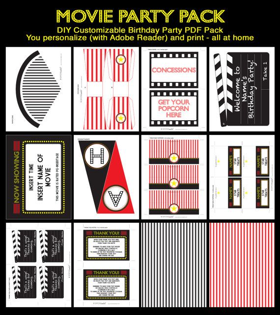 Movie Party Invitation & Printable Collection by SIMONEmadeit, $14.95