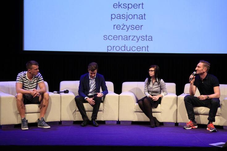 Discussion panel - Videoblogging as a alternative to traditional video distribution. From the right: Łukasz Jakóbiak (20 metrów Łukasza), Paulina Mikuła (Mówiąc Inaczej),  Radek Kotarski (Polimaty), Daniel Ciupryk (MC Silk)