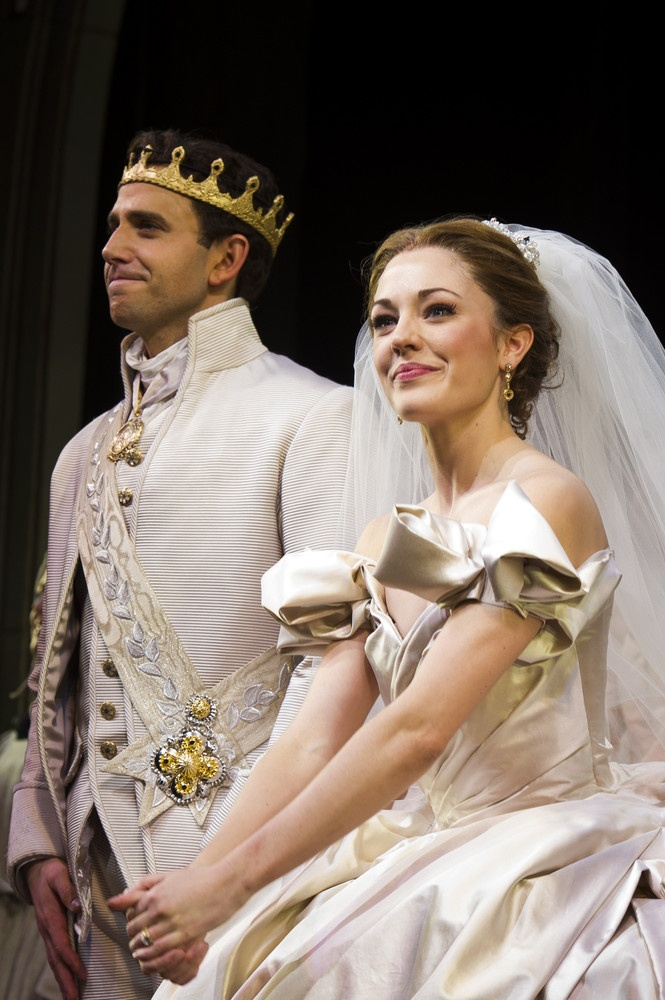 Cinderella Laura Osnes and Santino Fontana appear at the curtain call for the Broadway premiere of Rodgers + Hammersteins Cinderella on Sunday, March 3, 2013 in New York. (Photo by Charles Sykes/Invision/AP)