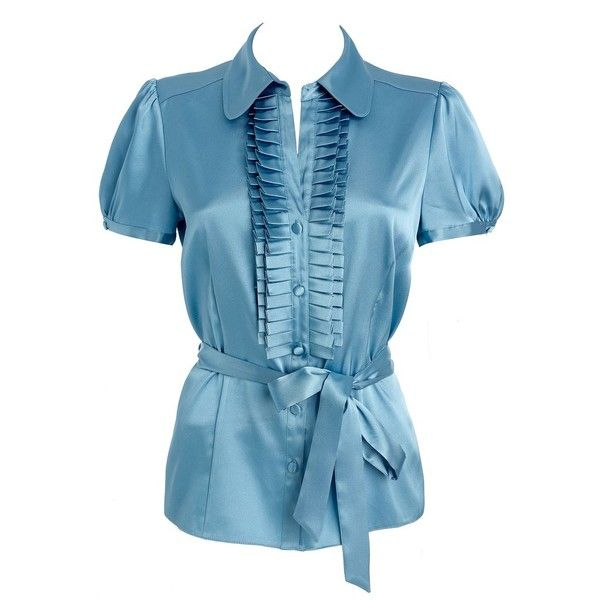 Petite aqua satin shirt ($9.31) ❤ liked on Polyvore featuring tops, blouses, outlet, shirts, shirts &amp blouses, women's tops, aqua shirt, blue shirt, petite blouses and ruffled shirts blouses
