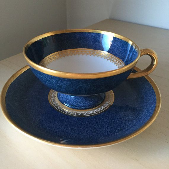 Royal Worcester Blue and Gold Vintage Teacup and Saucer, English China Tea Cup and Saucer, Tea Party, 1920s