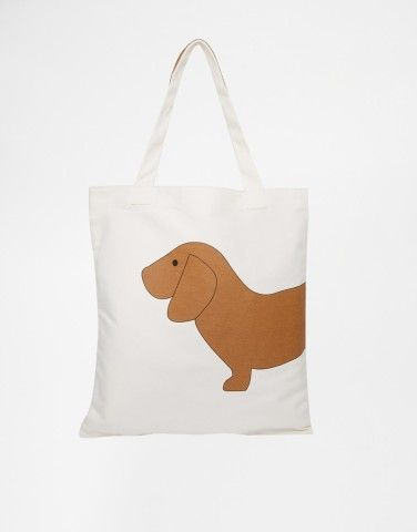 ASOS Sausage Dog Canvas Shopper Bag